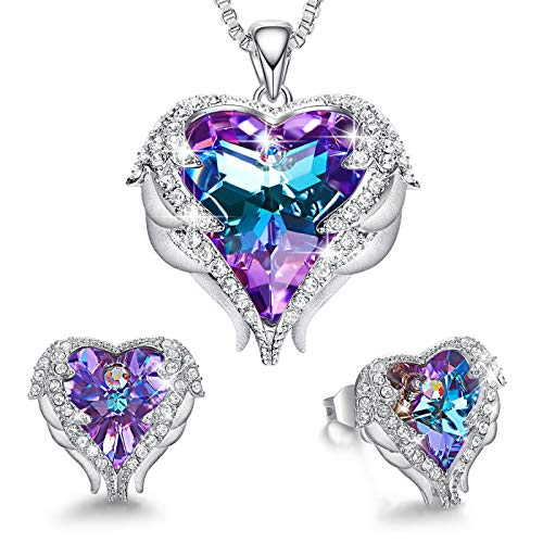 Angel Wing Heart Jewelry Sets Gift for Women Pendant Necklaces and Earrings Anniversary Birthday Mother's Day Jewelry Gifts for Women Mom Stepmom Daughter