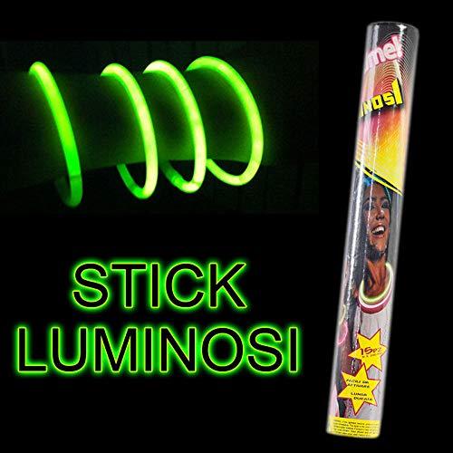 Vetrineinrete® Bracciali Luminosi Fluorescenti 15 Pezzi Starlight Braccialetti Fluo Feste Disco dj Rosa Verde Blu Arancione Giallo (Verde) D48