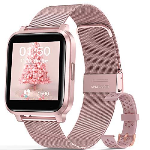 """Smartwatch Mujer, Hommie Reloj Inteligente Mujer 1.3"""" Táctil Completa, Pulsera Actividad Mujer IP68 con 17 Deportes, Pulsómetros, Monitor de Sueño, Seguimiento del Menstrual,Control de Musica y C"""