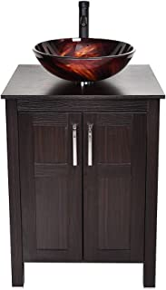 24 Inches Traditional Bathroom Vanity Set in Dark Coffee Finish, Single Bathroom Vanity with Top and 2-Door Cabinet, Tempered Glass Artistic Sink Top with Single Faucet Hole