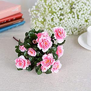 Silk Flower Arrangements Artificial and Dried Flower Artificial Flowers Silk Fake Leaf Azalea Floral for Wedding Party Home Decoration Bouquet JS23 - ( Color: Red )