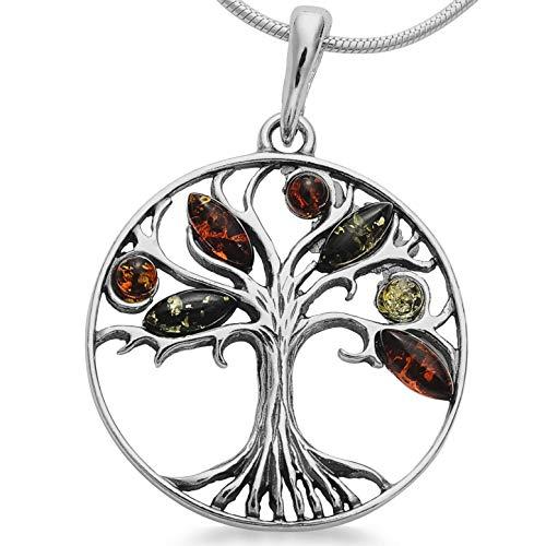 Maria Schmuck Damen Herren Bernstein Lebensbaum Weltbaum Kette Anhänger Amulett aus 925er Silber mit Schlangenkette und Spruch Postkarte