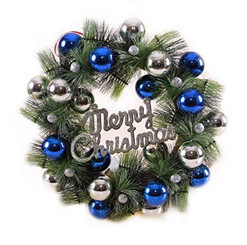 Cxssxling Guirnalda de Navidad para manualidades, decoración de Navidad, corona de Navidad, corona de Navidad, color rojo, azul y amarillo, diámetro de 36 cm