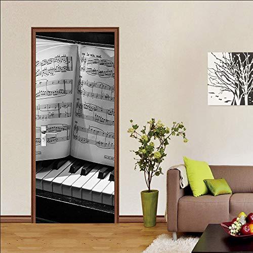 Adesivi per porte autoadesivi murali per porte, utilizzati per la decorazione della porta della camera da letto e del soggiorno, adesivi per porte rimovibili, spartiti per pianoforte