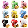 """uiuoutoy Super Mario Bros. Set of 9 Yoshi Plush Toys 6"""" Green Yoshi, Red Yoshi, White Yoshi, Purple Yoshi, Light Blue Yoshi, Dark Blue Yoshi, Black Yoshi, Yellow Yoshi, and Pink Yoshi by UiUoU"""