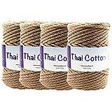 TRICOT CAFE' Offerta Fettuccia di Cotone per Uncinetto Thai Cotton 4pz 100% Cotone Ricilato/Noce 8