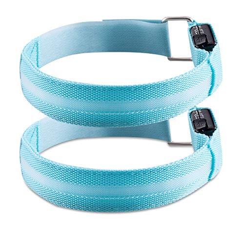 kwmobile 2X LED Leucht Armband - wiederaufladbar mit Micro-USB Kabel - versch. Farben - Leuchtband Joggen Kinder - Blinklicht Leuchtarmband