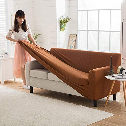 HXTSWGS Housse de Canapé d'angle Extensible,Elastic Sofa Cover, Living Room Sofa Cover, Elastic Furniture Cover-Love Coffee_145-185cm