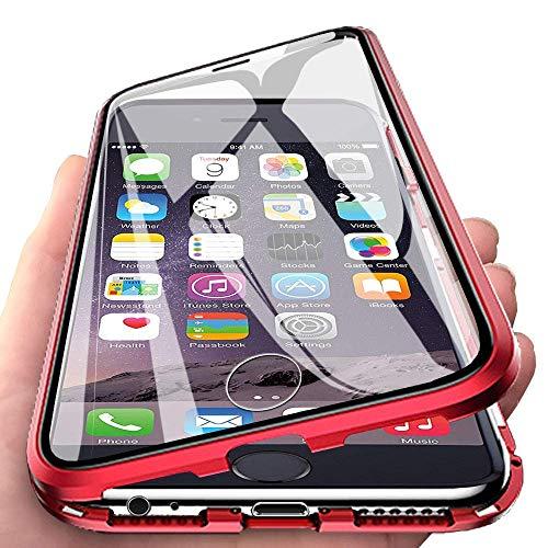 HongMan Hülle Magnetic Adsorption Handyhülle für Samsung Galaxy S7, Einteiliges 360 Grad Komplettschutz Metall Bumper, Gehärtetes Glas Schutzhülle Panzerglas Folie Durchsichtige Case Cover, Rot