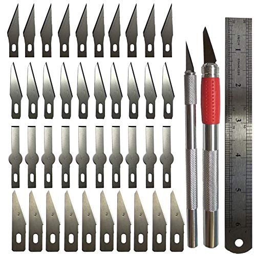 Art Pen Knife for Arts Tools Crafts Including 2 Size Knife and 40PCS Precision Carving Blades for Cutting and Trimming Paper Plastic Cloth Wood Carving/Scrapbooking / Car Model