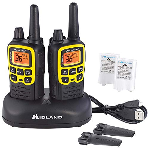 Midland X-TALKER 36 Channel FRS Two-Way Radio - Long Range Walkie Talkie, 121 Privacy Codes, & NOAA Weather Scan + Alert (Black/Yellow, 2-Pack)