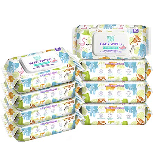 Baby Wipes, HAPPY BUM Water Baby Wipes, Wet Wipes for Nose, Face, Hand and Body, Hypoallergenic and Unscented, 8 Packs, 640 Count.