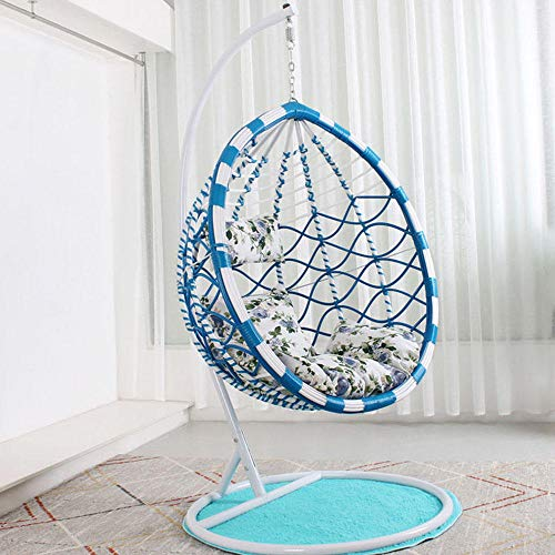 QPALB Color Pattern Rattan Hanging Egg Chair 185 * 106cm 200kg with Cushion and Pillows Hanging Chair with Stand-A