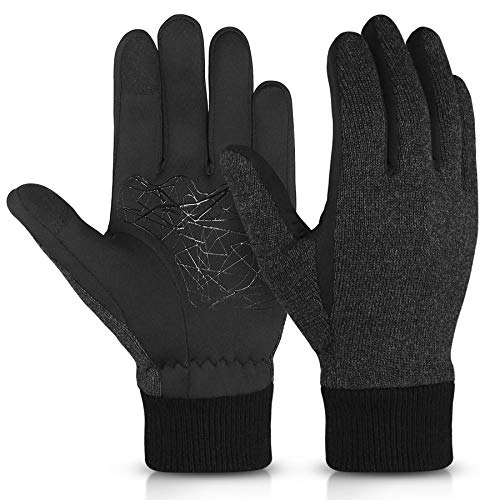 KELOYI Touchscreen Handschuhe Herren Damen Winter Warme Outdoor Sport Gloves mit Fleecefutter Winddichte Rutschfeste für Laufen Fahren Radfahren Fahrrad Wandern(Schwarz,M)