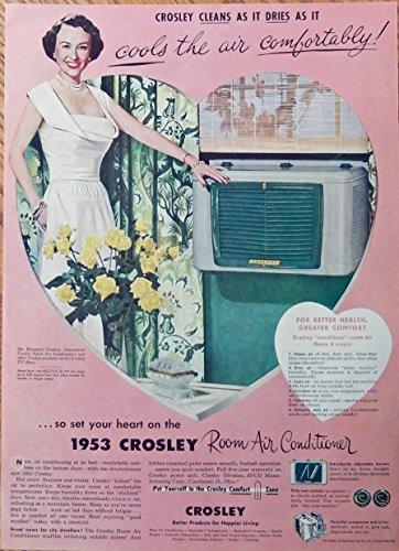 1953 Crosley room air conditioner, 50's print ad. full page color illustration (Margaret Lindsay) original 1953 Life Magazine Art
