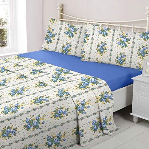 ShawsDirect Lucinda Flannelette Sheet Set 100% Brushed Cotton - Single/Double/King Sizes (Blue, Double)