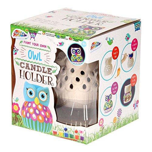 Kinderen schilderen uw eigen uil kandelaar kit