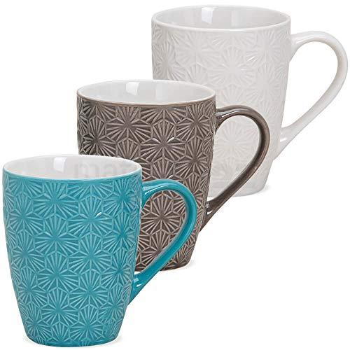 matches21 Becher Tassen Kaffeetassen Kaffeebecher Keramik Retro Motiv türkis braun weiß 3er Set je 10 cm / 250 ml
