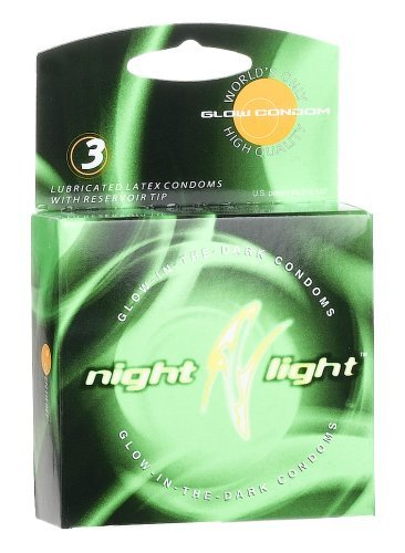Global Protection Night Light Glow-in-The-Dark Condoms, 3 Condoms (Pack of 6)