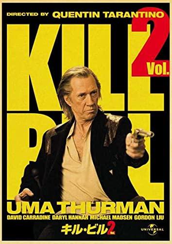 YYAYA.DS Lona Pared Arte Póster de película clásica de Quentin Tarantino Kill Bill Vol.2 3 póster Retro Bar Sala de Estar Comedor decoración de Pared 60x90cm