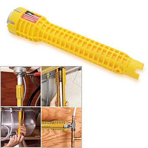 Llave multiusos para fregadero, llave de tubo de fontanería llave de lavabo herramienta de reparación para inodoro grifos y fregadero lavabo cocina fontanería Llave(amarillo)