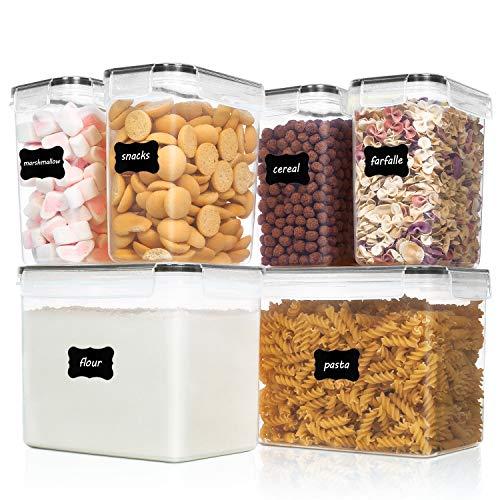 Vtopmart 6 Stück Vorratsdosen Set,Müsli Schüttdose & Frischhaltedosen, BPA frei Kunststoff Vorratsdosen luftdicht, 24 Etiketten für Getreide, Mehl, Zucker(Schwarz)