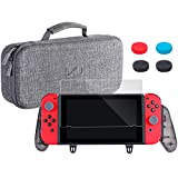 Zadii Ergonomic Grip Pro Case Bundle Compatible with Nintendo Switch, Includes Comfortable Grip, Carry Case and Tempered Glass Screen Protector