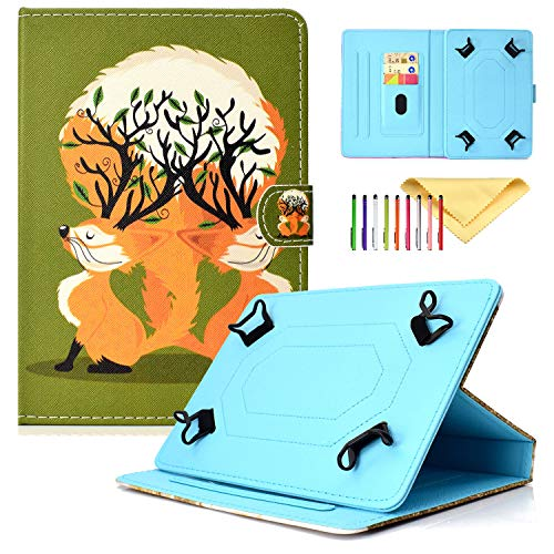 Uliking Universal Case Cover for iPad Mini, Kindle Fire HD 8, Galaxy Tab 8.0, Huawei, (Slim Kickstand Wallet Case Fit all 7.5-8.5 inch tablet), Fox Lover