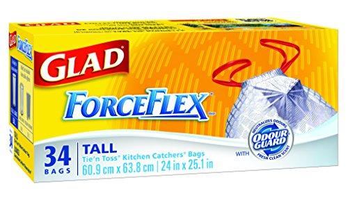Glad White ForceFlex Garbage Bags - Tall 50 Litres - Drawstring, 34 Trash Bags