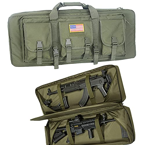 Greencity 32Inch Double Long Rifle Bag Water Dust Resistant Long Gun Case Bag Outdoor Tactical Carbine Cases,Bag for Hunting Shooting,Size:32in(O.D. Green)