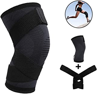 Knee Brace with Strap for Men & Women Best Knee Sleeves Support for Running Hiking, Crossfit, Squat Sports - Non Slip Knee Compression Sleeve for Pain Relief, Injury Recovery, Meniscus Tear, ACL, MCL