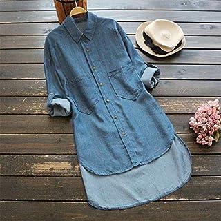 Leepesx Women Plus Size Denim Blouse Turn Down Collar Rolled Long Sleeve Po ets Low High Irregular Hemline Loose s