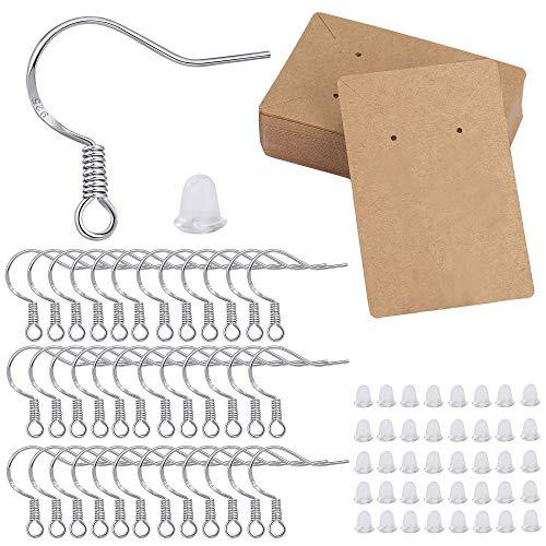 QH-Shop Schmuck Basteln Zubehör ohrhaken Silber 925 Earring Backs Ohrring Display Karte für die Herstellung und Reparatur von Ohrringen 250 Stück