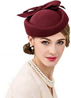 Fascinator Hat for Women Vintage Wool Pillbox Hat Bow Fedoras Ladies Party Hats