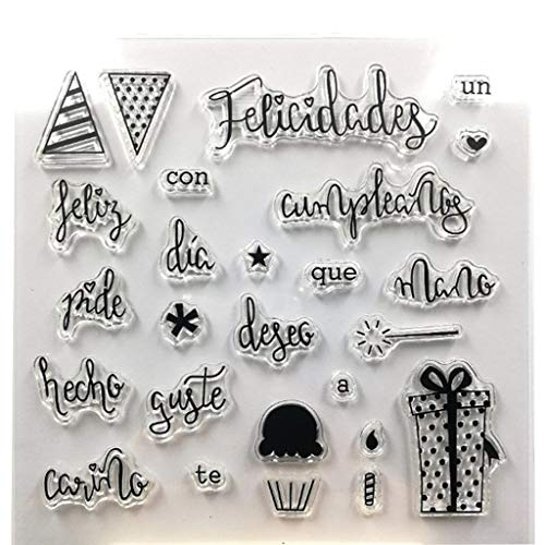 NUEEUDD Sello de sello transparente de silicona español DIY Scrapbooking relieve álbum de fotos decoración