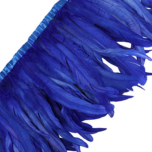 AWAYTR Rooster Hackle Feather Trim 10-12 inches Width for DIY Sewing Crafts Pack of 1 Yard (Royal Blue)
