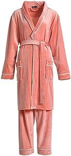 STJDM Nightgown,2PCS Robe Set Men And Women Flannel Kimono Bathrobe Autumn Winter Coral Sleepwear Nightwear Plus Size M B-...