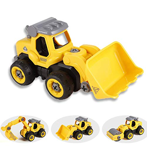 Tigerhu Bagger sandkasten Spielzeug, Elektrisches baufahrzeuge Spielzeug Set mit Kinder Bulldozer Straßenwalze Montage Modell, RC Bagger Spielzeugauto Ideale Lernspielzeug für Junge Mädchen 3 Jahren