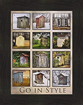 Go in Style by Lori Deiter 16x20 Outhouse Collage Photo Bathroom Décor Framed Art Print Picture