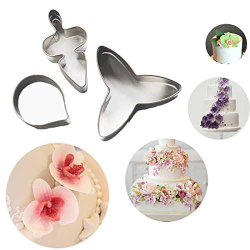 Bluelover Fondant Cake Stampo Di 3Pcs Falena Orchidea In Acciaio Inox Cookie Cutter