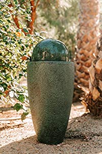 XBrand GE2612FTGN Modern Stone Textured Round Sphere Water Fountain w/LED Lights Indoor/Outdoor Décor, Green