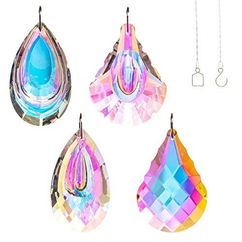 MANDODAM 4Pcs Prism Crystal Window Suncatcher Hanging Ornament Rainbow Maker for Home Garden Decoration
