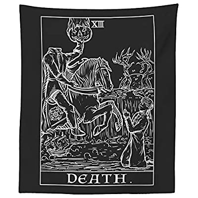 "Death Tarot Card Tapestry (Black & White) - Headless Horseman - The Legend of Sleepy Hollow Gothic Halloween Home Decor Wall Hanging (60"" x 50"")"