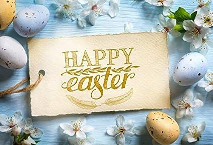 RBabyPhoto Happy Easter Backdrop 7X5FT Broken Egg Resurrection of Jesus Hen Straw Garland Banner Nostalgia Wood Plank Spring Frohe Ostern Photography Background for Photo Studio Props Vinyl CK435