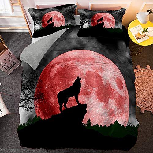 Wzhfsq Juego de ropa de cama infantil con diseño de lobo rojo y luna llena roja, 200 x 200 cm, 3 piezas, microfibra, con cremallera y 2 fundas de almohada de 50 x 75 cm, antialergénico, Teen Double,