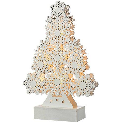 WeRChristmas–fiocco di neve, motivo: albero di Natale, decorazione in legno, Legno, White, small