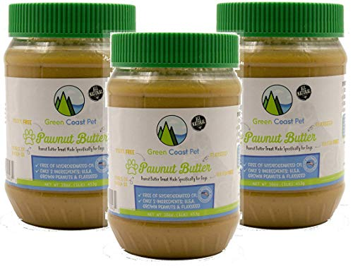 Green Coast Pet 3 Pack of All Natural Pawnut Butter for Dogs, 16 Ounce Jars