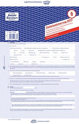 Avery Zweckform 2873 Einheitsmietvertrag (für Wohnungen und Häuser, A4, selbstdurchschreibend) 1 Stück, blau