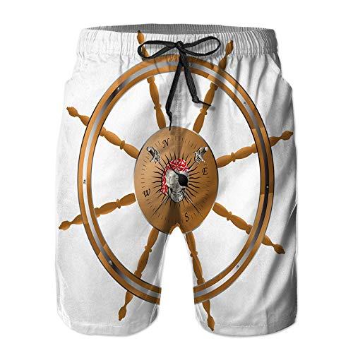 Hombres Verano Secado rápido Pantalones Cortos Playa Volante de Barco Pirata con Calavera Pirata Trajes de baño Correr Surf Deportes-M