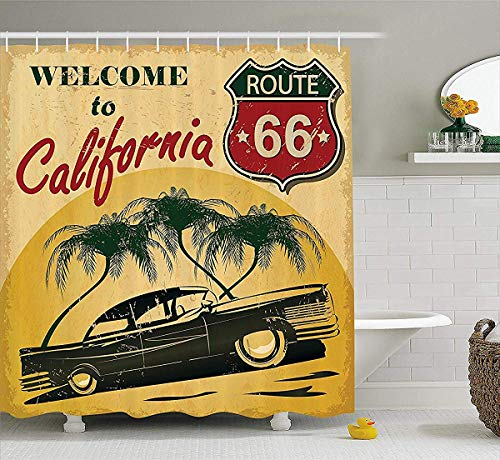 1960s Decor Douchegordijn, Retro Welkom bij Californië Advertising Seat van Hollywood Pop Art Style Neo Print, Polyester Stof Badkamer Set met Hooks, 72W x 79L Inch Badgordijnen, Rood Emerald